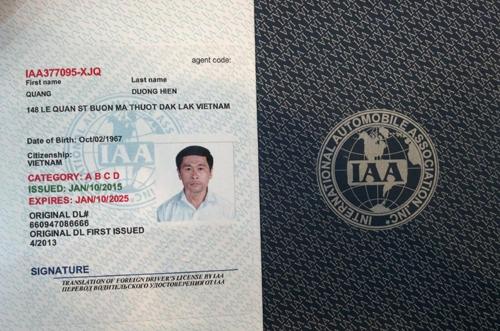 bằng lái xe quốc tế IAA của Mỹ